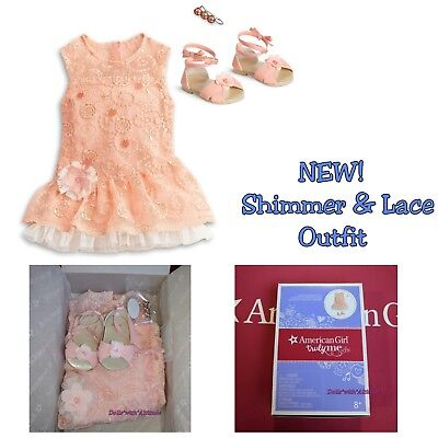 NEW American Girl Doll Peach Orange Shimmer and & Lace Party Dress Easter Spring