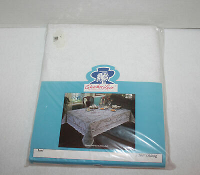 """Quaker Lace White 60"""" x 104"""" Oblong Tablecloth """"Lori"""" - New in Package"""