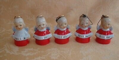 "Five Japan Mini Girl Angel  Bell / Onaments 1950s ~ Say ""Merry Christmas"""