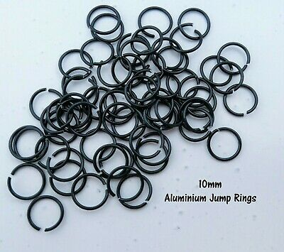 10mm Black Jump Rings Aluminium Wire 10/50/100pcs Open Ring Finding SS132