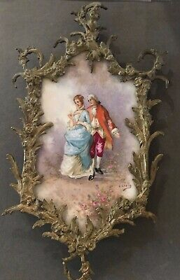 Gorgeous Antique Italian signed Cavelly Porcelain Plaque Fancy brass Frame
