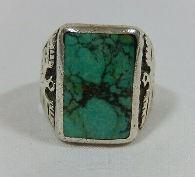 Old Navajo Sterling Silver Spiderweb Turquoise Dbl Thunderbird Large Ring S9
