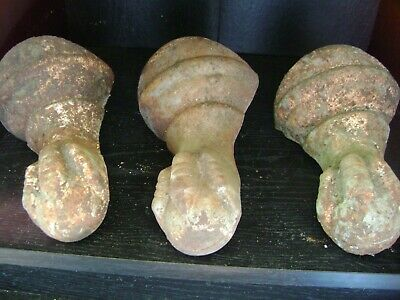 ANTIQUE CLAWFOOT BATHTUB FEET (3 MATCHED)(MARKED 7 O) 6 1/2Hx5W TONGUE3Lx1 1/2W