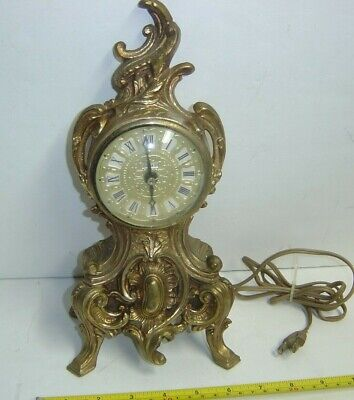 """Antique Cast Iron Louis XV 11"""" Tall Electric Clock for Mantle/Shelf Working"""