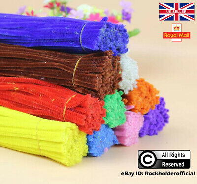 "Pipe Cleaners Chenille Craft Stems 30cm 12"" Bristle Bundles assorted Pack UK New"