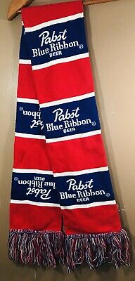 """Pabst Blue Ribbon PBR Winter Scarf Red and Blue 56"""" Long 7"""" Wide Beer Party"""