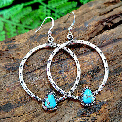 Vintage 925 Silver Geometric Turquoise Big Circle Hook Earrings Fashion Jewelry