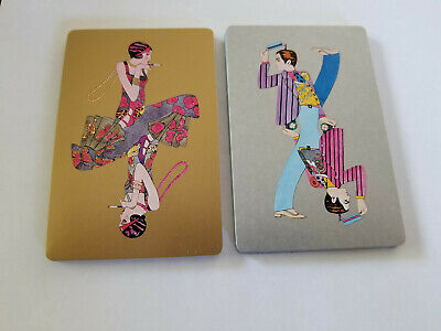 Single Suits (Diamonds) - Vintage Swap Playing Cards - 1920s People Floral Print
