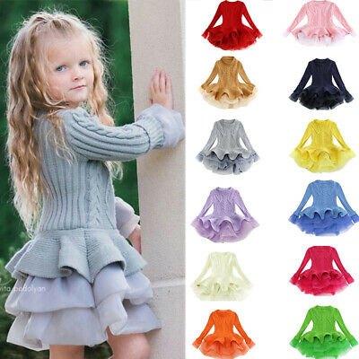 Kids Baby Girls Knitted Sweater Winter Pullovers Crochet Tutu Dress Tops Clothes