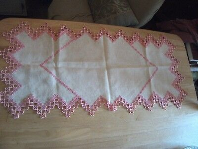 Handcrocheted Doilies and Table Runner Pink Ivory White