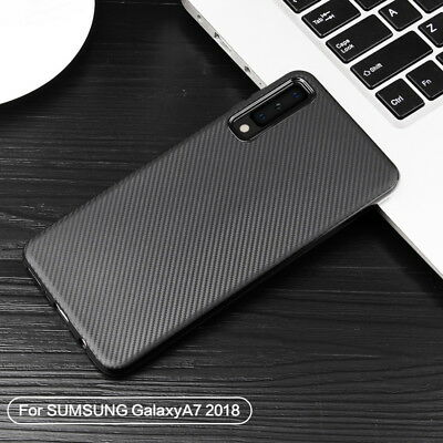 For Samsung Galaxy A7 (2018) A750 J6 Plus Carbon Fiber Silicone Soft Case Cover