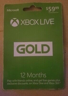 Microsoft  Xbox Live12 Month Gold Membership Card for Xbox 360 / Xbox one Card