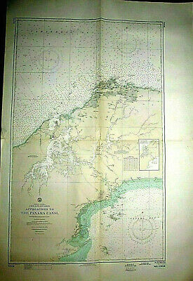 "PANAMA CANAL with APPROACHES - 1970 Nautical Chart - 54"" x 36""  (#1730)"