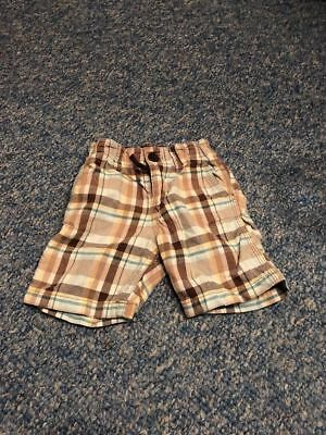 H&M brown checked shorts trousers baby boys 6-9 months clothes