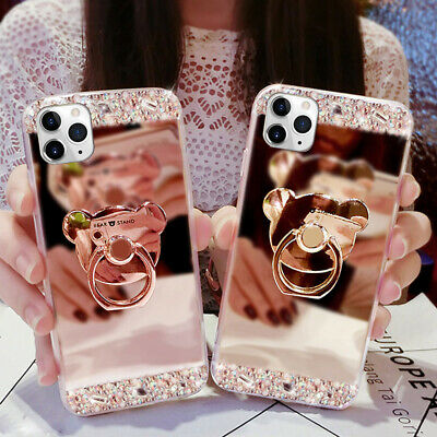 Bling Case For iPhone 11 Pro Max 2019 Shockproof Ring Holder Mirror Stand Cover