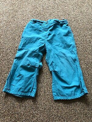 Mini Mode teal blue cargo trousers with adjustable waist baby girls 6-9 months