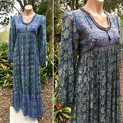 Vintage Indian Cotton Gauze Maxi Dress 1970s