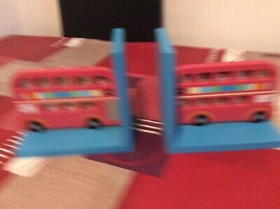 Pair Of Colourful Bus Wooden Book Ends Child's Bedroom Nursery