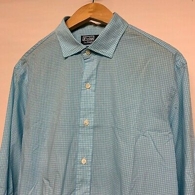 Mens Genuine Polo Ralph Lauren Blue Custom Fit Long Sleeve Check Shirt L Large