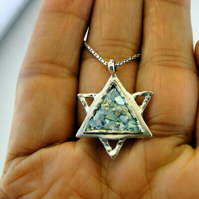 Hadar Designers Roman Glass Star of David Pendant 925 Sterling Silver Art (as) y