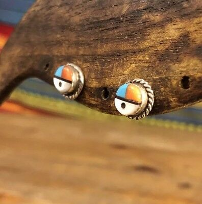 Small Vintage Native American Zuni Sterling Silver Sun Face Multi Stone Earrings