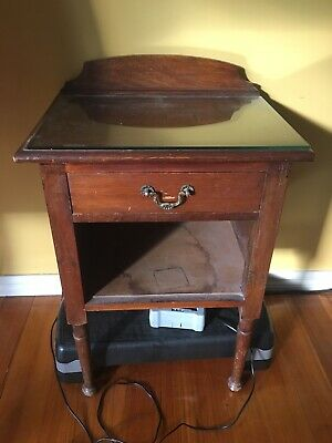 Small Vintage Side Table With Drawer And Glass Top