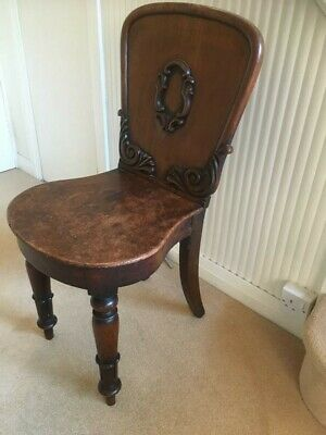Antique Victorian Hall Chair - Solid Oak