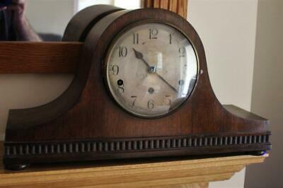 Antique German Kienzle Napoleon Hat Shaped Mantel Clock Runs Well But NO CHIMES