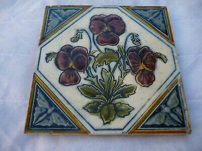 Antique Glazed Tiles Colourful Floral Decoration  Architectural Interior Design