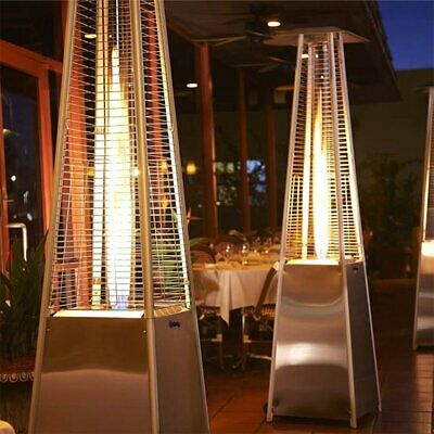Gas Patio Heater Flame 13KW Stainless Steel Pyramid Garden Outdoor W/ Wheel aj