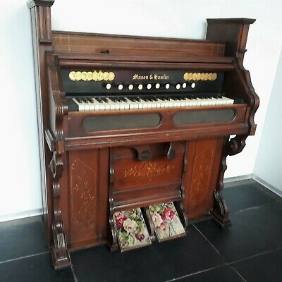 Antique Hamlin & Mason Cabinet Red Pedal Pump Organ