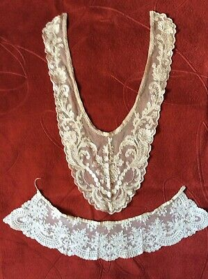 Two Original Vintage Victorian Lace Collars