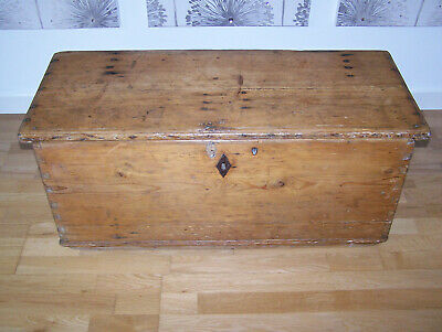 Old Antique Large Pine Chest, Wooden, Trunk, Box, Coffee Table, Storage