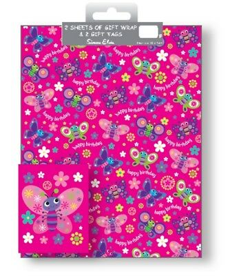 2 Sheets Gift Wrapping Paper & Tags HAPPY BIRTHDAY Girls Ladies Pink Butterfly