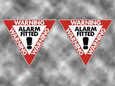 2no ALARM FITTED WARNING Security Sign / Sticker / Decal Camper Shed Van Car