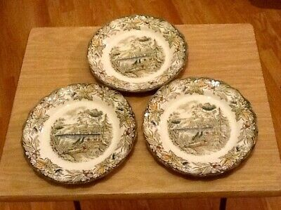 """Ridgway China """"Fredericton"""" 3 dinner side plates Heritage Early Canada Series"""