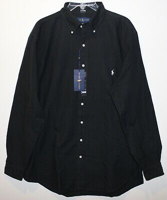 Polo Ralph Lauren Big and Tall Mens Black Twill Button-Front Shirt NWT Size LT