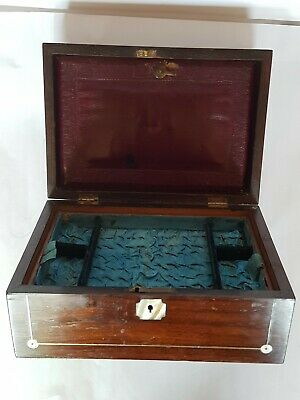 Lovely Vintage Rosewood Box With Fine Brass Inlay (Ideal Jewellery / Sewing Box)