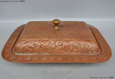 """13"""" Old Chinese bronze Ancient dynasty palace tray Pallets Dish plate"""