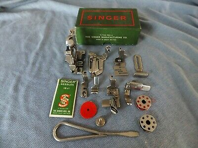 "1950c Singer 221/222 Featherweight Sewing Machine accessory box ""FULL"""