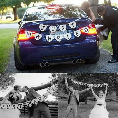Just Married Garland Wedding Banner Car Bunting Western Venue Party Decor SignFE
