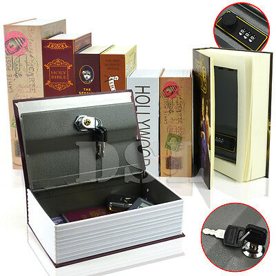 M Rose PostCard HomeSafe Real Book Safe Key Combination Metal Security Money Box