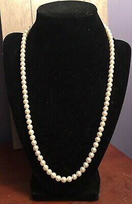 Authentic Mikimoto Akoya Pearl Necklace Original Sterling Silver Clasp Vintage