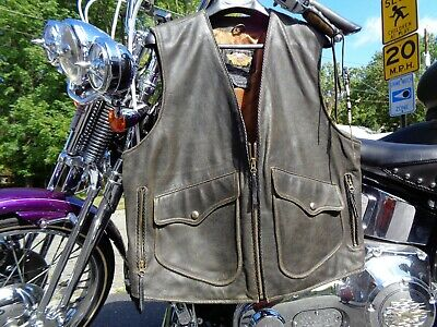 Harley Davidson Billings Leather Vest Large  Springer Ultra  Softail Roadking