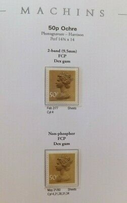 Specialised Machin. SG X921 & X922. 50p. Study.  Fully annotated. MNH.