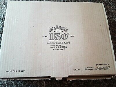 Jack Daniels 150 Years Anniversary Embossed Glass 12 x Tumblers - New and boxed