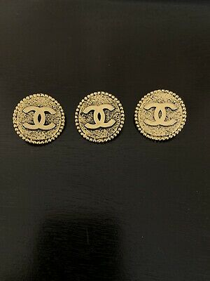 CHANEL Gold CC Logo Buttons Set Of 3