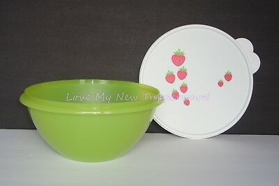 Tupperware Wonderlier Bowl 12-cup Green Base White Seal w/Strawberries New