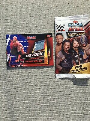 2019 WWE.Slam Attax Universe Ring Relic Mat Card - The Rock
