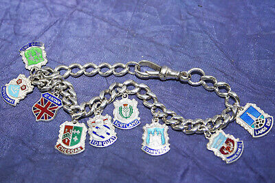 """ANTIQUE SOLID SILVER ALBERT CHAIN BRACELET~28.5g~9 1/4""""~9 SILVER TRAVEL CHARMS"""